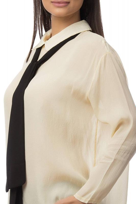 camasa crem accesorizata cu cravata neagra br1396 5826 3