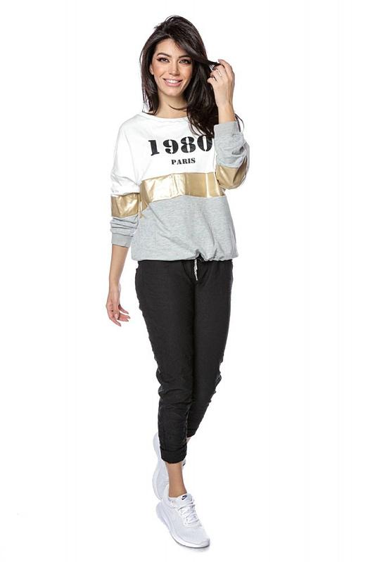 colour block sweatshirt with 1980 logo grey roh br2303 9261 2