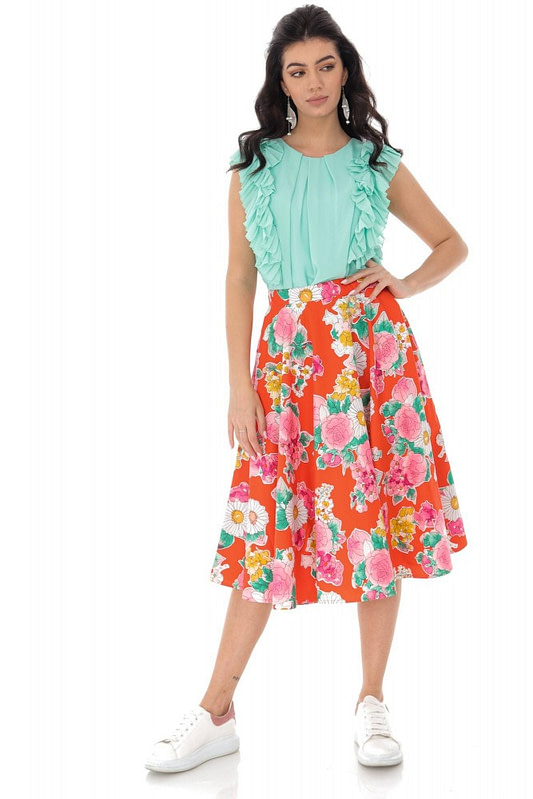 floral printed full skirt orange roh fr482 9383 1
