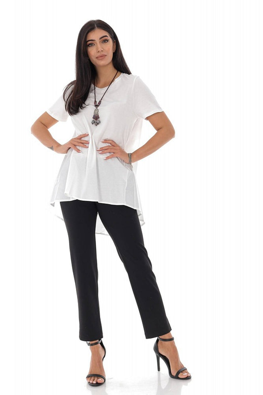 ladies high low t shirt roh cotton back white br2356 9574 3