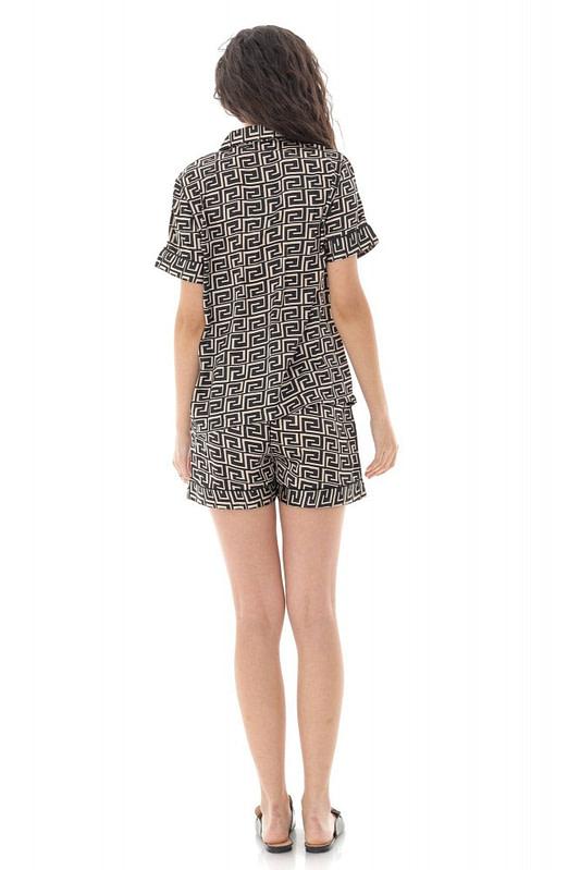 pijama de dama scurta roh negru cu imprimeu geometric tr427 9685 2