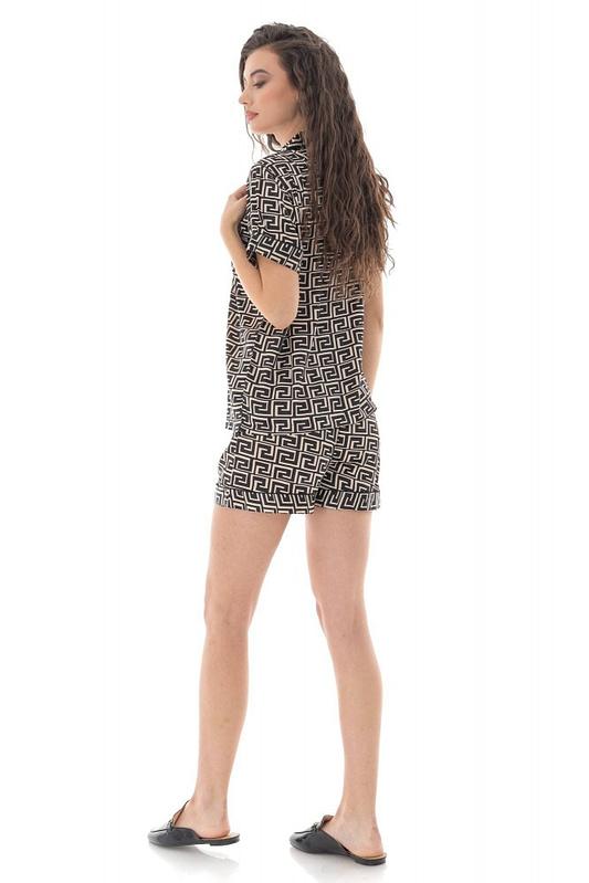 pijama de dama scurta roh negru cu imprimeu geometric tr427 9685 3