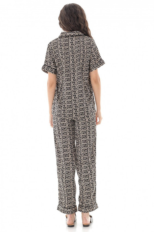 pijama de dama set roh negru din satin tr428 9686 2