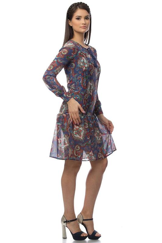 rochie albastra cu imprimeu dr2921 5695 3