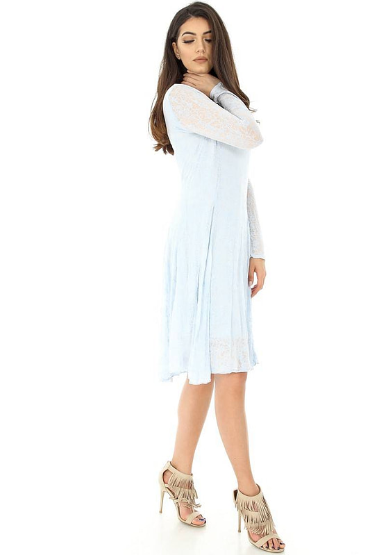 rochie albastra cu maneci lungi dr2975 5847 2