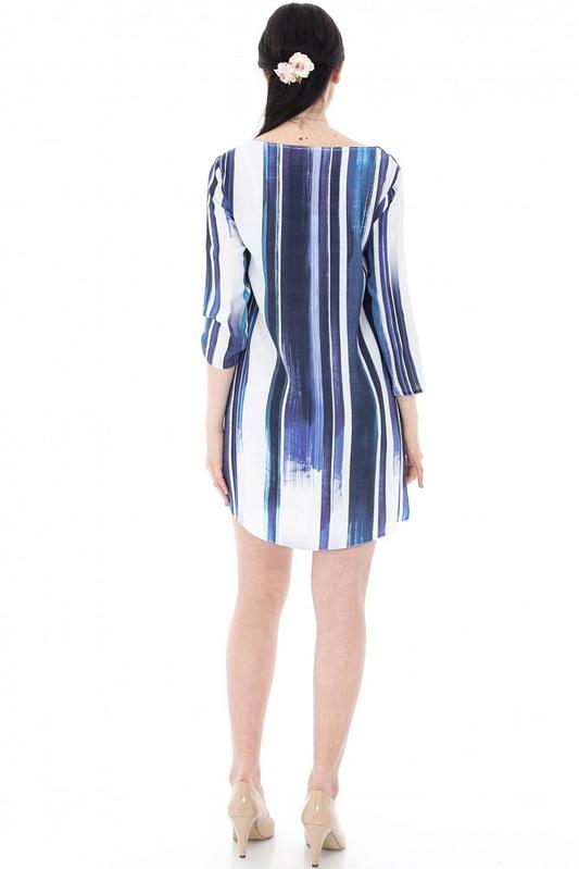 rochie albastra in dungi dr2911 5653 2