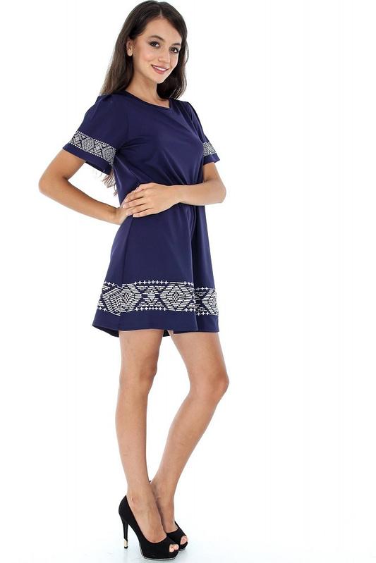 rochie bleumarin cu broderie dr3039 5928 3