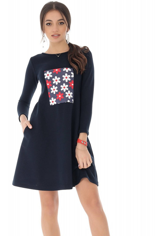 rochie bleumarin cu contrast floral roh dr4077 9120 1