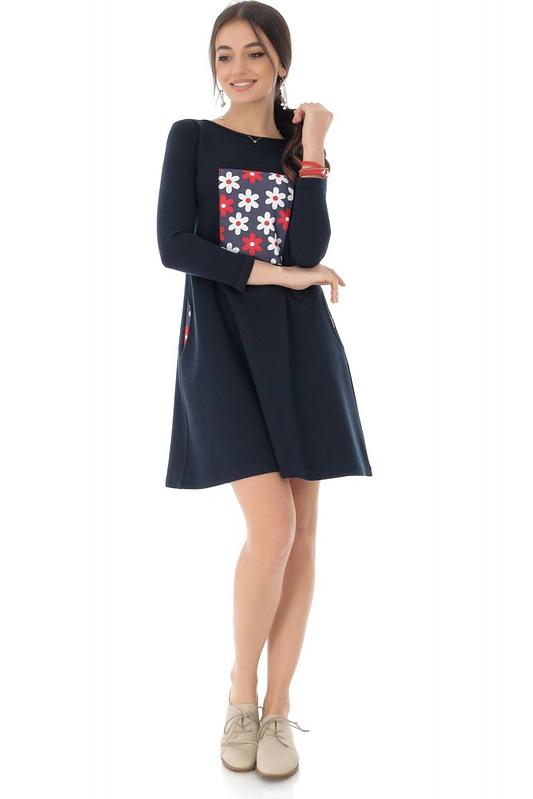 rochie bleumarin cu contrast floral roh dr4077 9120 2