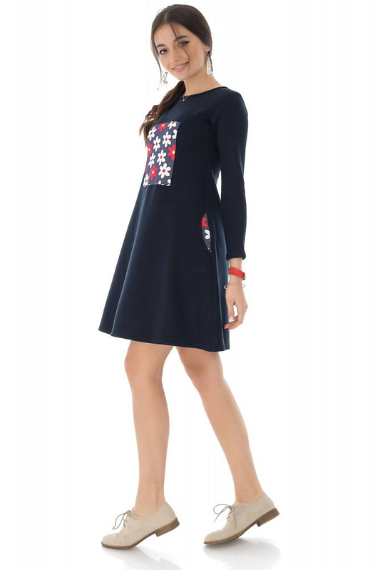 rochie bleumarin cu contrast floral roh dr4077 9120 3