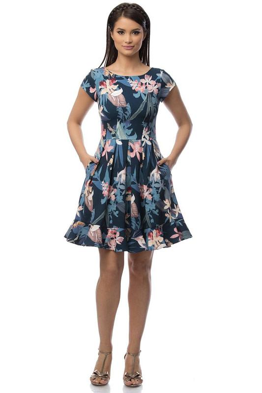 rochie bleumarin cu motive florale dr2919 5698 1