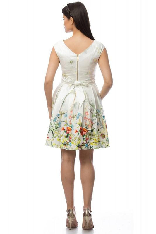 rochie crem cu motive florale dr2918 5699 2