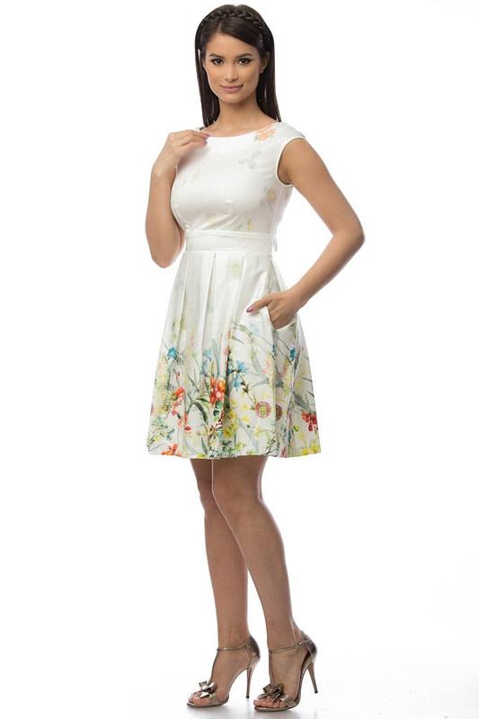 rochie crem cu motive florale dr2918 5699 3