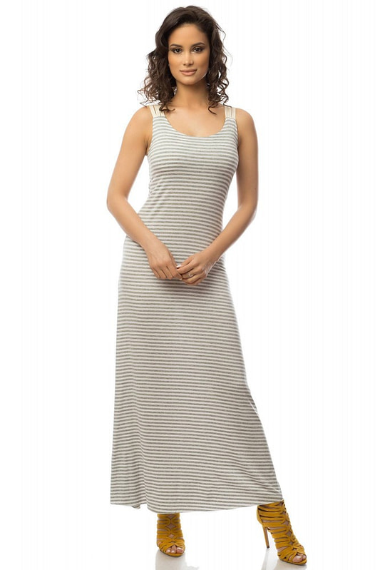 rochie gri cu alb in dungi dr2939 5750 1