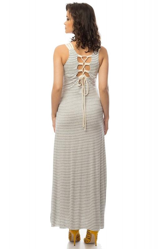 rochie gri cu alb in dungi dr2939 5750 2
