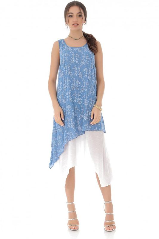 rochie midi albastra cu imprimeu floral delicat roh dr3813 8310 2