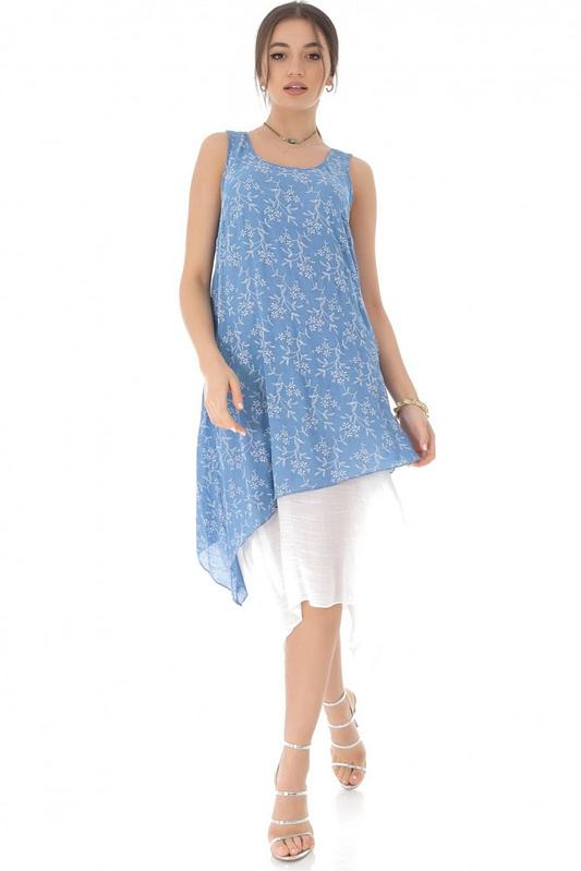 rochie midi albastra cu imprimeu floral delicat roh dr3813 8310 3