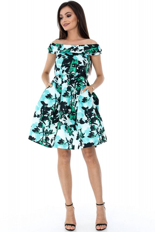 rochie multicolora roh eleganta dr3414 7215 2
