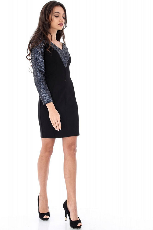 rochie neagra cu paiete dr2715 4911 2