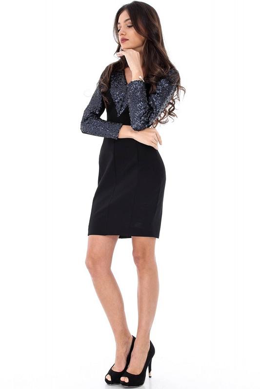 rochie neagra cu paiete dr2715 4911 3