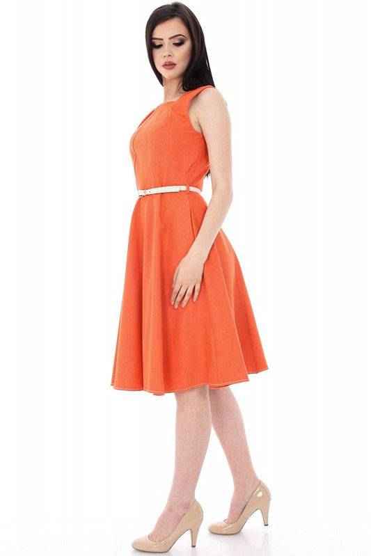 rochie portocalie in stil clos dr2906 5648 3