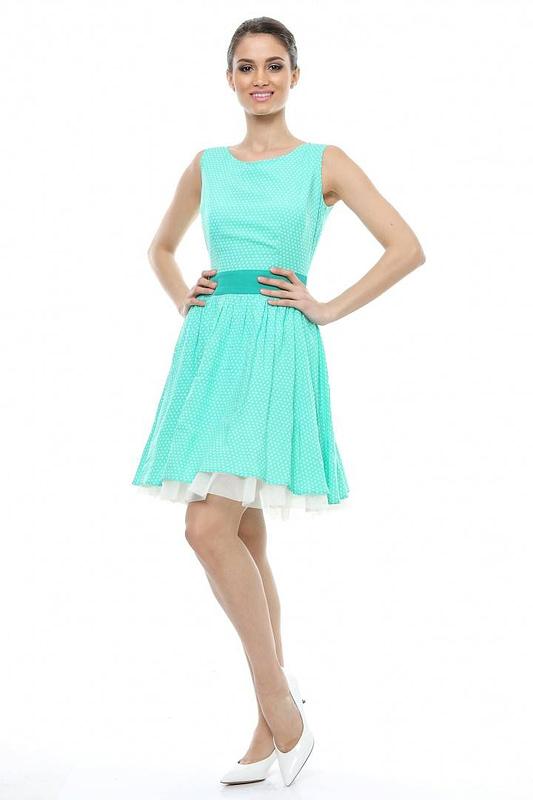 rochie verde cu buline d90249 v 1546 2