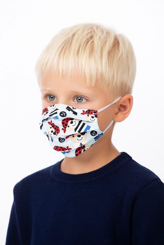Masca de fata pentru copii imprimeu pirati bleu 1 scaled