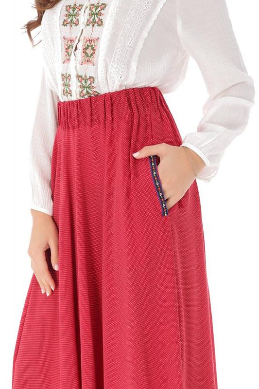 fusta rosie lunga cu buline albe roh fr465 9085 2 scaled