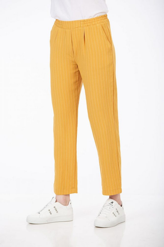 Pantaloni galben mustar cu dungi 2 scaled