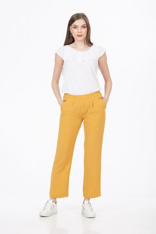 Pantaloni galben mustar cu dungi scaled