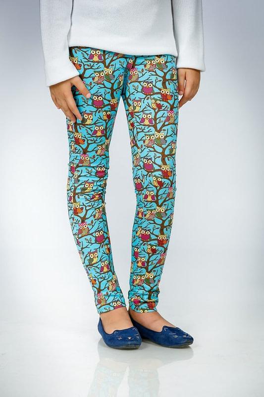 Pantaloni turcoaz cu imprimeu bufnite 1 scaled