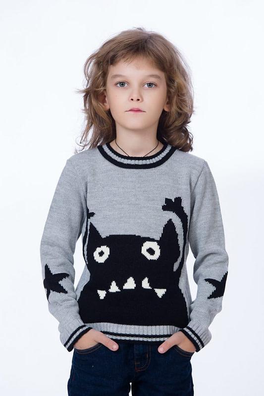 Pulover tricotat gri cu monstrulet negru 1 scaled