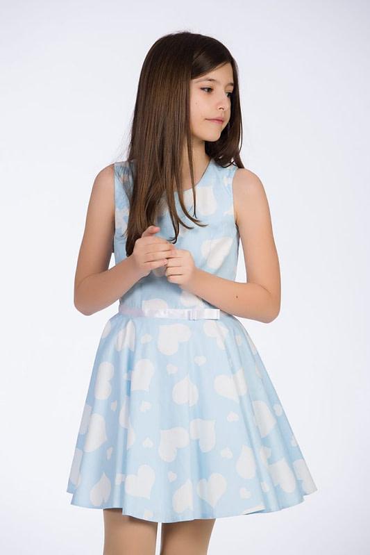 Rochie bleu cu inimioare albe pentru fete 2 scaled