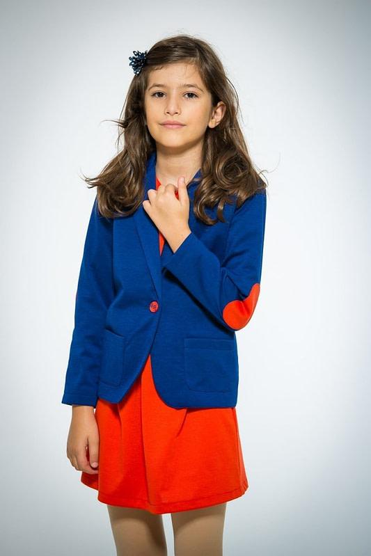 Sacou albastru cu cotiere rosii pentru fete 1 scaled