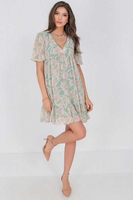 baby doll style tunic dress aimelia dr4271 in mint and beige 9787 1 scaled