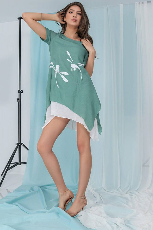 casual layered top aimelia br2480 in mint green with a dragonfly motif 9788 3 scaled