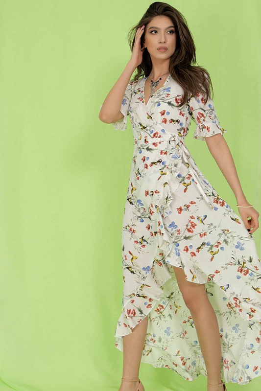 delicately printed maxi dress aimelia dr4273 in cream with a wrapover cut 9784 2 scaled