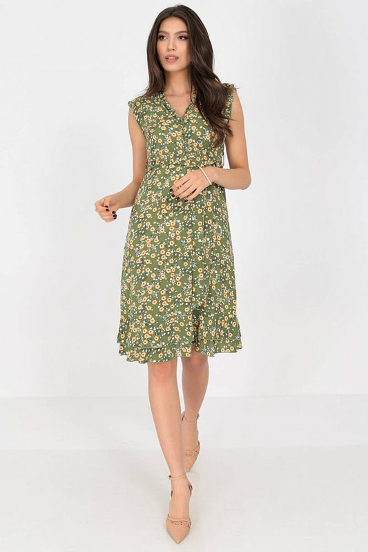 ditsy printed tea dress aimelia dr4276 in green with frills and a belt 9790 1 scaled