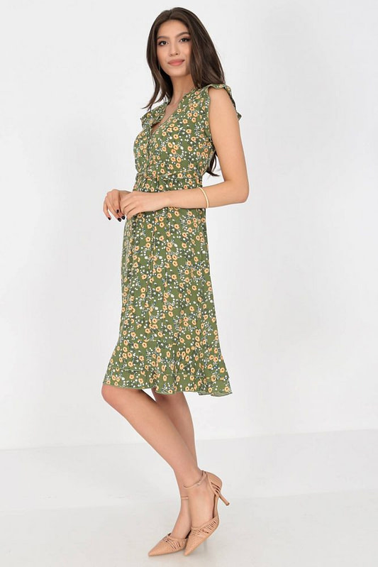 ditsy printed tea dress aimelia dr4276 in green with frills and a belt 9790 2 scaled