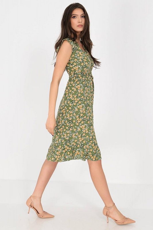 ditsy printed tea dress aimelia dr4276 in green with frills and a belt 9790 3 scaled
