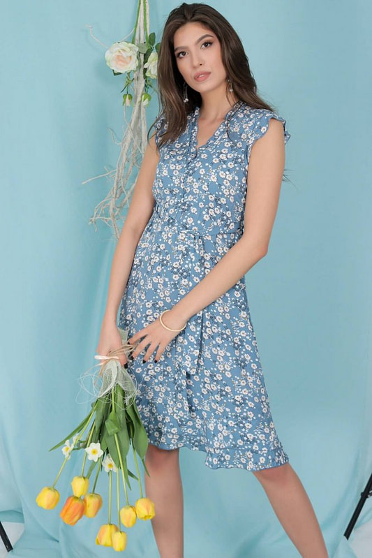 ditsy printed tea dress aimelia dr4277 in blue with frills and a belt 9791 2 scaled