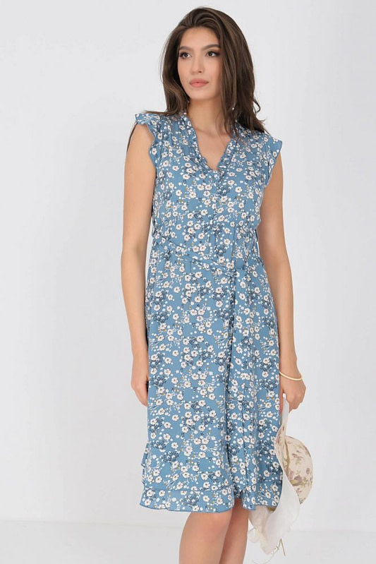 ditsy printed tea dress aimelia dr4277 in blue with frills and a belt 9791 3 scaled