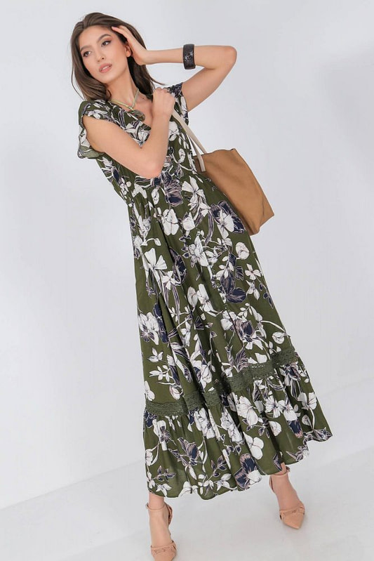 floral printed maxi dress aimelia dr4275 in khaki and cream with a frilled hem 9789 1 scaled