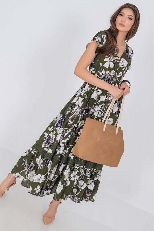 floral printed maxi dress aimelia dr4275 in khaki and cream with a frilled hem 9789 2 scaled