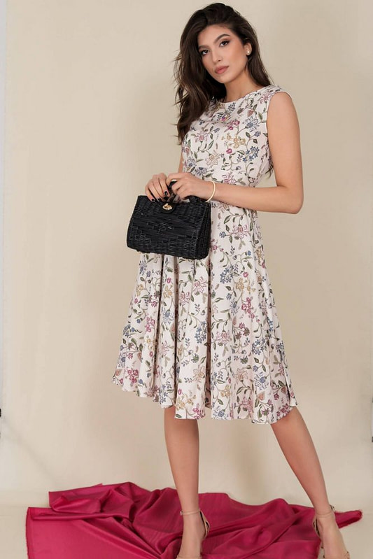 printed summer dress aimelia dr4282 in cream with a full skirt 9797 1 scaled