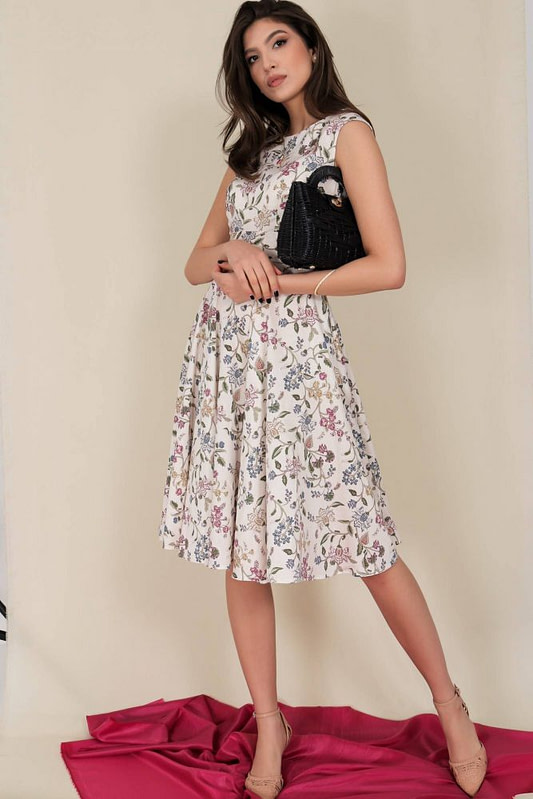 printed summer dress aimelia dr4282 in cream with a full skirt 9797 2 scaled
