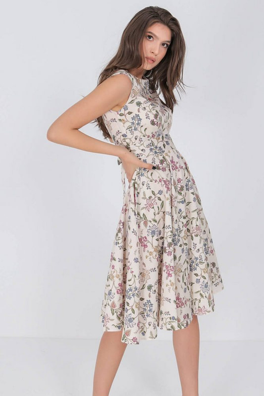 printed summer dress aimelia dr4282 in cream with a full skirt 9797 3 scaled